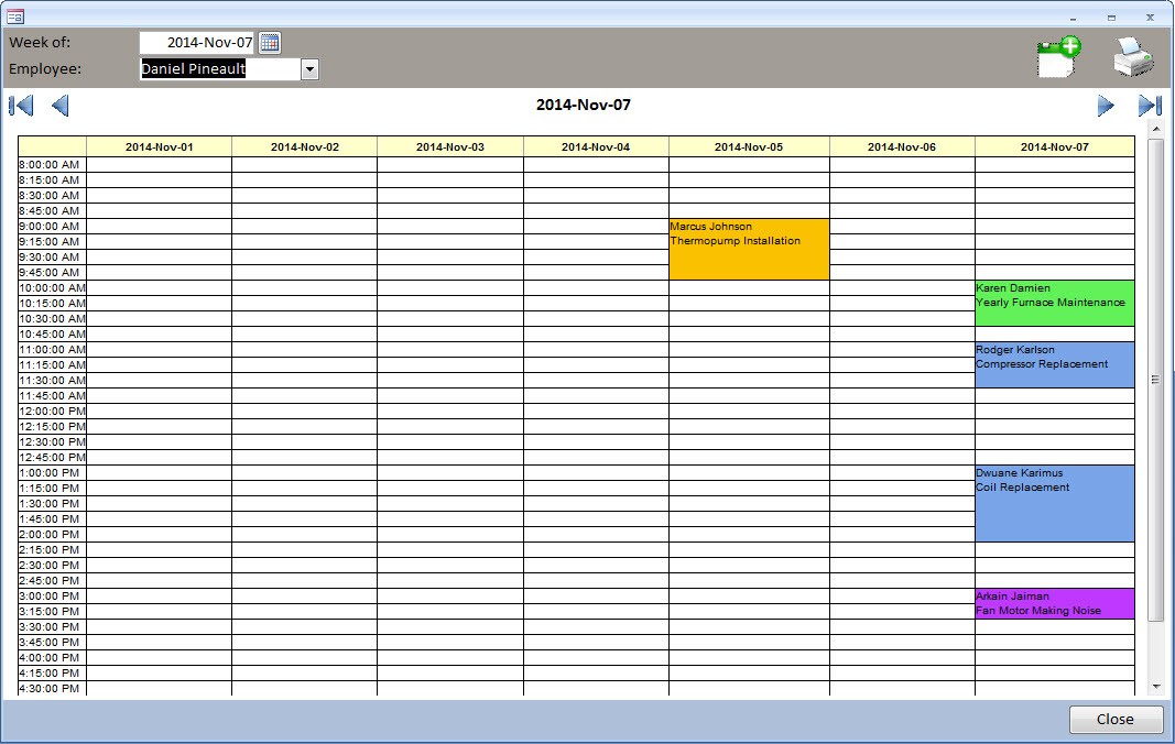Ms Access  Appointment Calendar  Daily Planner  Technician