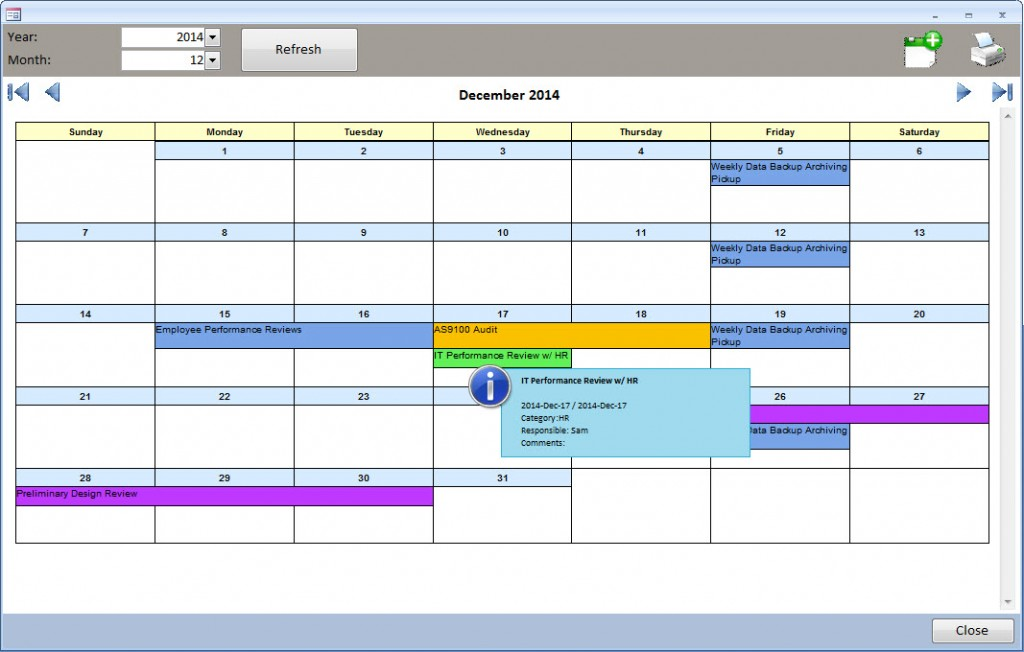 Ms Access Task Scheduler  Event Calendar  Carda Consultants Inc