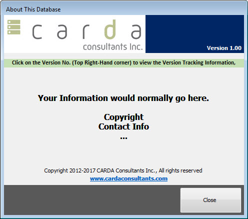 MS Access Version History Tracking – CARDA Consultants Inc
